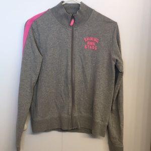 PINK Shining Pink Stars Gray Zip Up Sweatshirt